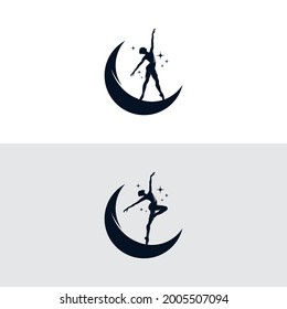 Contemporary Dancing girl outline and the moon