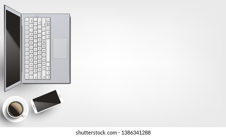 Contemporary Devices On Workplace Flat Lay Vector. Opened Modern Laptop And Neoteric Smartphone Near Hot Coffee Cup Arranged On Homey Or Office Workplace. Copy Space Top View Illustration