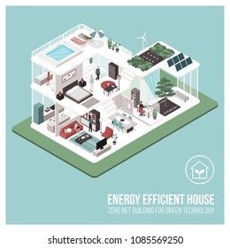Contemporary energy efficient isometric eco house cross section and room interiors with people: zero net building concept