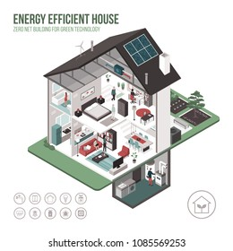 Contemporary energy efficient isometric eco house cross section and room interiors on white background with icons and people