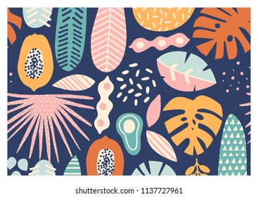 Contemporary exotic jungle fruits and plants card in vector