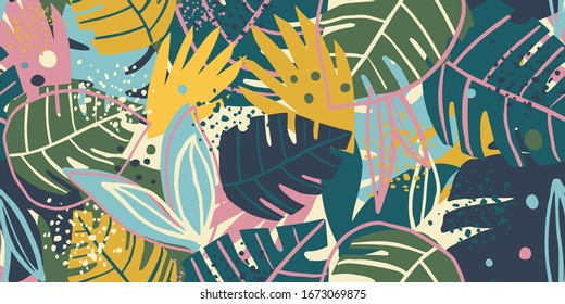 Contemporary exotic leaves seamless pattern collage design. Creative tropical leaf wallpaper. Design for fabric, textile print, wrapping paper, fashion, interior, cover. Botanical vector illustration