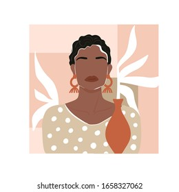 Contemporary fashion collage with abstract African woman portrait, leaf, vase and geometric elements. Trendy illustration in minimalistic style. Vector print poster, card, invitation, t-shirt etc.