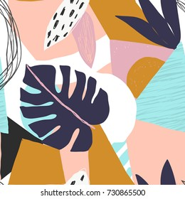 Contemporary floral seamless pattern. Modern exotic jungle fruits and plants illustration in vector