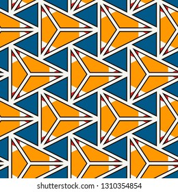 Contemporary geometric pattern. Repeated triangles motif. Seamless surface design. Modern abstract background. Geo ornament wallpaper. Ornamental digital paper, textile print. Vector illustration