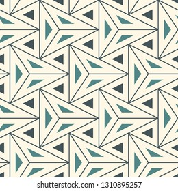 Contemporary geometric pattern. Repeated triangles motif. Seamless surface design. Modern geo abstract background. Minimalist wallpaper. Simple ornamental digital paper, textile print. Vector art