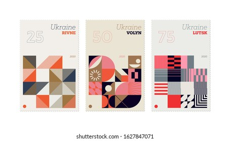 Contemporary graphic design of postage stamp vector mockup collection created in post-modern and mid-century style. Made with abstract vector shapes, bold elements and simple geometrical forms.