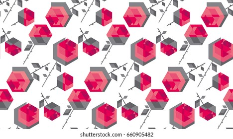 contemporary hexagon rose flower vector seamless pattern. Geometry floral vector illustration for surface design, background, fabric, poster, wrapping paper. cool modern abstract pattern
