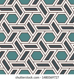 Contemporary honeycomb geometric pattern. Repeated hexagon ornament. Modern mosaic tiles background. Seamless surface abstract design. Geo wallpaper. Digital paper, textile print. Vector illustration