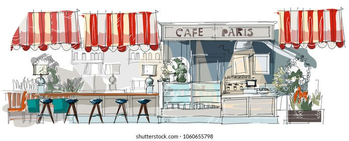 Contemporary interior cafe doodles in neo-classical style.Hand drawn sketch.