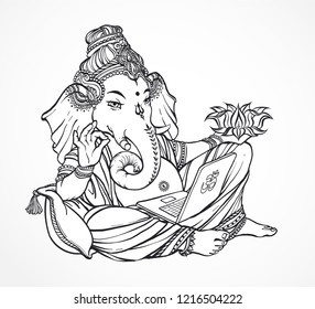 Contemporary ironic Ganesha. Relaxed god with laptop in hands and shows OK symbol. Hindu lord Ganesh  over ornate mandala. Vector hand drown illustration.