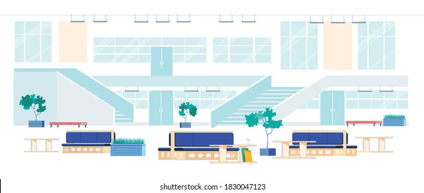 Contemporary Modern University Hall or Entrance Lobby Interior with Comfortable Furniture for Resting and Stairs Leading to Auditorium and Lecture Rooms Background. Flat Cartoon Vector Illustration.