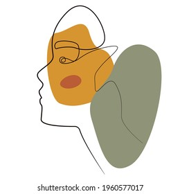 Contemporary outline female portrait. Modern abstract girls face. Continuous line, minimalistic art. Beauty fashion design. Stock vector illustration, eps 10