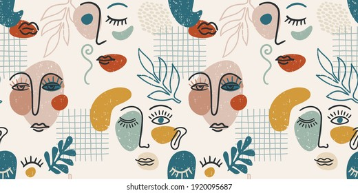 Contemporary portrait. Vector seamless pattern wtih trandy abstract face painting. Modern design for paper, cover, fabric, interior decor and other use.