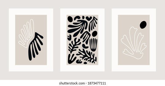 Contemporary poster set. Abstract matisse inspired floral collage, organic shapes, hand drawn wall decor. Vector illustration