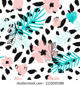 Contemporary Print with Flowers and Palm Leaves. Vector Seamless Pattern for Fashion ,Notebook,Phone Cower,Invitation,Fabric Texture