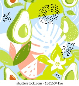 Contemporary seamless pattern with avocado fruits, watermelon, leaves and abstract elements. Creative floral collage. Vector texture for textile, wrapping paper, packaging etc.