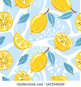 Contemporary seamless pattern with lemon, lemon slice, mint leaves and abstract element. Texture for textile, wrapping paper, scrapbooking, packaging etc. Vector.