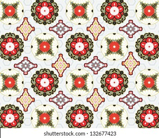 Contemporary seamless pattern made from traditional Japanese motifs