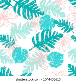 Contemporary Seamless Pattern With Palm and Banana Leaves and Exotic Flowers