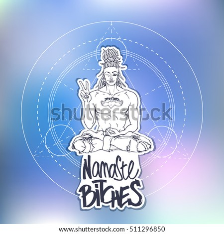 Contemporary sexy buddha showing peace sign stock vector royalty contemporary sexy buddha showing peace sign and winking hand drawn lettering namaste bitches vector m4hsunfo