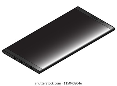 A contemporary slab cellular / mobile / hand phone. In black.