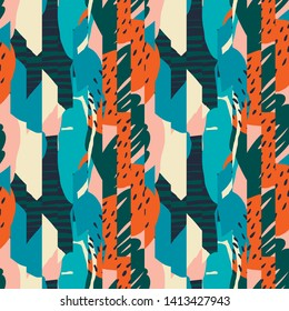 Contemporary stripes tropical abstract collage with various of plants and geometric shapes seamless pattern in vector.