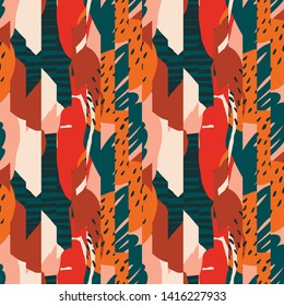 Contemporary tropical abstract ollage with various of plants and geometric shapes seamless pattern in vector.