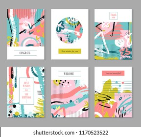 Contemporary universal placards. Summer splatter, artworks covered in ink. Vector wedding banners and brochures. Freehand fashion colored splatter poster for wedding illustration