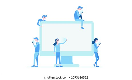 Contemporary world of information with people attached to mobile phones gadgets and devices looking at screens not noticing things around them vector illustration with copy space