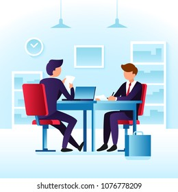 Contender work employees and job interview. Cartoon man employee and interviewer boss meeting at desk in ceo office vector concept with flat characters on job interview