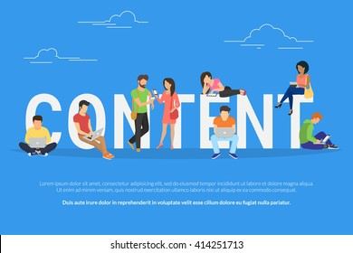 Content concept illustration of young various people using laptop, tablet pc and smartphone to use social networks and websites. Flat big letters content and guys and young women standing near