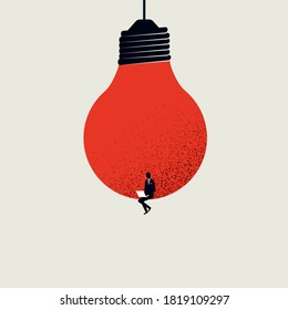 Content creation, creative person vector concept. Man sitting in lighbulb with laptop. Symbol of creativity, writing, blogging, copywriting. Eps10 illustration.
