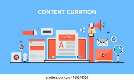 Content curation, web content marketing, promotion, social media post flat line vector illustration with marketing icons isolated on blue background