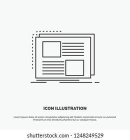 Content, design, frame, page, text Icon. Line vector gray symbol for UI and UX, website or mobile application
