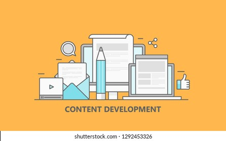 Content development, Blog writing, Blogging, Social sharing flat line vector banner concept