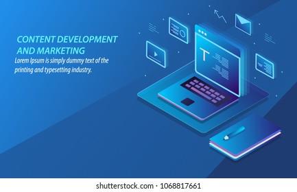 Content development and marketing, Digital content publication, Sharing vector banner illustration