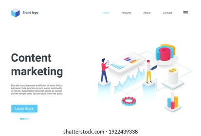 Content digital marketing concept isometric vector illustration. Cartoon 3d team of marketer people study audience in social media, seo optimization campaign for target searching process landing page