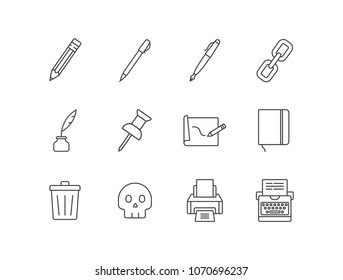 Content editing line icons set with pencil, pen, link, quill pen, inkwell, pin, writing, notebook, trash can, skull, printer, typewriter.