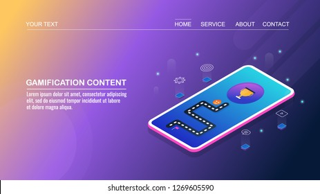 Content gamification, interactive content, engaging contents for user flat design 3D isometric vector concept