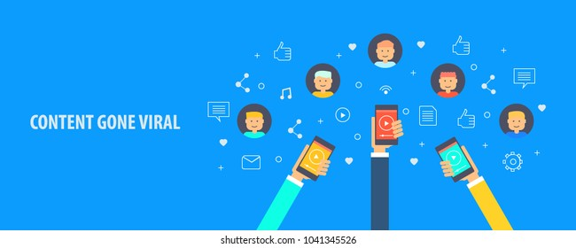 Content gone viral - social media content - content sharing among audiences flat vector illustration