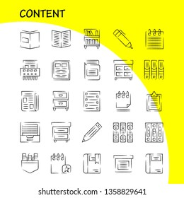 Content Hand Drawn Icon Pack For Designers And Developers. Icons Of Book, Book Mark, Content, Content, Pens, Pocket, Content, Vector