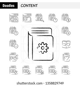 Content Hand Drawn Icon Pack For Designers And Developers. Icons Of Web, Content, Detail, Web, Book, Content, Calendar, Date, Vector