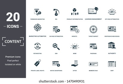 Content icon set. Contain filled flat members only, native advertising, off-page optimization, pagerank, private label rights, responsive web design, return on investment icons. Editable format.