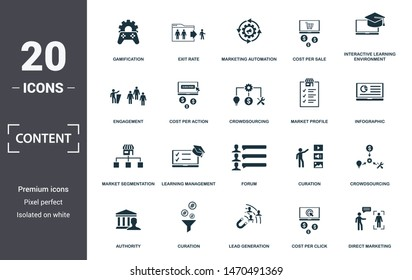 Content icon set. Contain filled flat cms, content plan, content creator, viral, viral marketing, media plan, social content icons. Editable format.
