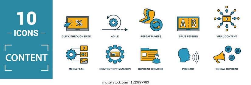 Content icon set. Include creative elements cms, content plan, digital content, viral marketing, media plan icons. Can be used for report, presentation, diagram, web design.