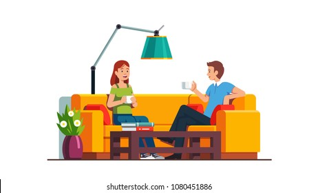 Content man and woman sitting on sofa at coffee table, drinking and relaxing. Home living room or office waiting room interior design. Decoration and furniture. Flat style vector illustration