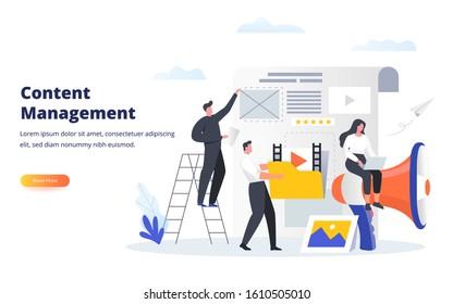 Geschäftskonzept Content Management Experten füllen die Webseite mit fesselnden Inhalten aus. Kann für Banner, Web-Landing-Seite, i, mobile App, Flyer und andere damit verbundene Veranstaltungen verwendet werden