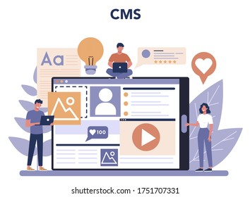 Content management and cms concept. Idea of digital strategy and content for social network making. Communication in social media. . Isolated flat illustration