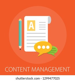 Content management - digital content - Social media advertising flat vector conceptual content management with icons